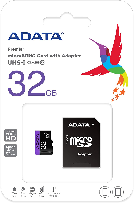 ADATA 32GB microSDHC/SDXC UHS-I U1 Class 10 Memory Card with Adapter (AUSDH32GUICL10-RA1)