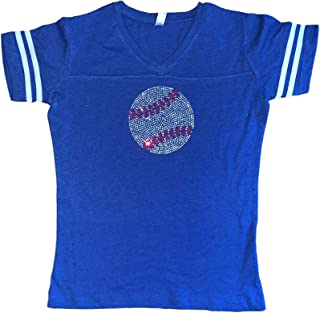 Womens Plus Size Rhinestone Bedazzled Baseball v-Neck tee Shirt
