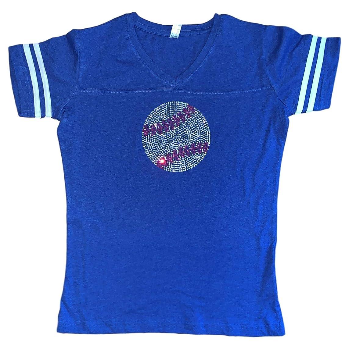 FanGarb Womens Plus Size Rhinestone Bedazzled Baseball v-Neck tee Shirt