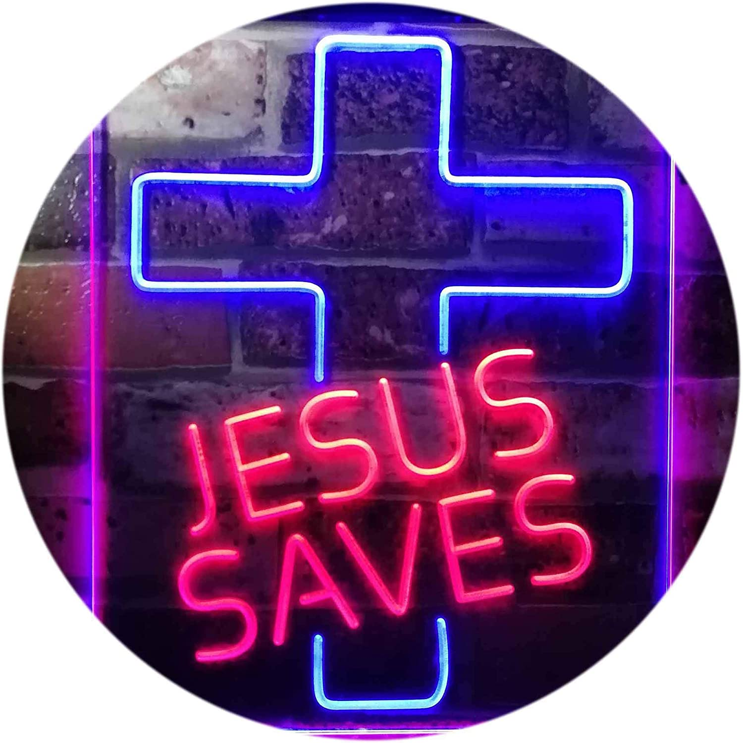 ADVPRO Jesus Saves Cross Home Decoration Night Light Dual Farbe LED Barlicht Neonlicht Lichtwerbung Neon Sign rot & Blau 12  x 16  st6s34-i3140-rb