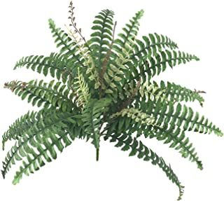 Artificial Shrubs Artificial Boston Fern Plants Greenery Bushes Flower for House Office Garden Indoor Outdoor (28 Fronds Fern)