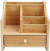 Fdit Organizer na biurko, wielofunkcyjne pudełko do przechowywania bambusowy organizer na biurko zdalne sterowanie przecho...