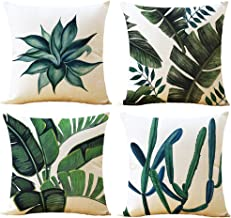 WOMHOPE 4 Pcs - 17 Spring Green Plant Printing Cotton Linen Throw Covers Throw Pillow Covers Square Cushion Covers Decorative Pillow Covers Pillowcase for Couch (F)