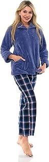 Women's Bed Jacket Zip Front Cardigan Fleece Robe Lounge Coverup
