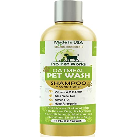 Pro Pet Works Natural Organic 5 in One Oatmeal Pet Shampoo + Conditioner-Dog Grooming Supplies-Tear Free Blend with Aloe Vera Gel for Allergy Relief & Dry Sensitive Skin-17oz (Soap Free Grooming Kit)