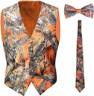 iLovewedding Camo Vests for Men Orange Formal Vest Wedding Groom, Casual, Hunting