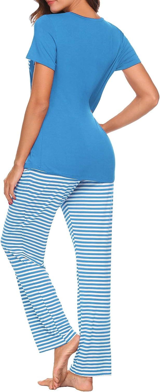 HOTOUCH Women's Pajama Set Short Sleeve and Long Pants Two-Piece Sleepwear Soft Modal Pjs Loungewear