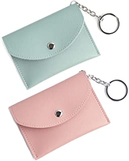 Small Keychain Wallet Coin Purse Mini Change Purse Credit Card Holder with Key Ring