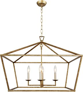 Chapman Casual Medium Wide Lantern Openwork Lantern Pendant Stairway Entry Kitchen Hall Foyer Fixture Chandelier (Aged Iron) (Aged Gold)