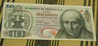 Vintage old diez pesos Mexican banknote - very rare For collectors (only 10 pcs left) - You are lucky to own.