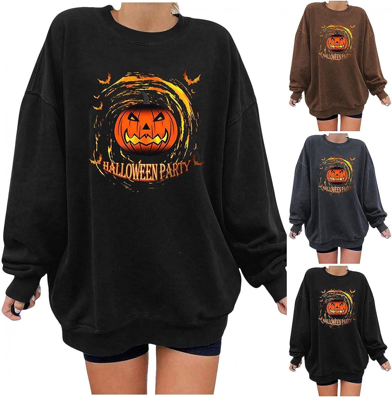 FABIURT Long Sleeve Shirts for Women, Womens Tops Gothic Skeleton Printed Blouse Fashion Round Neck Pullover Sweatshirts