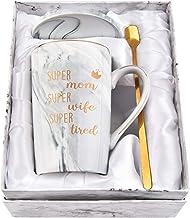 Mom Coffee Mugs Super Mom Super Wife Super Tired Mug Mothers Day Gift for Wife from Husband Marble Mug for Women Mom Femal...