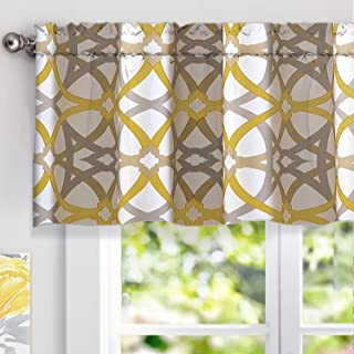 DriftAway Alexander Spiral Geo Trellis Pattern Window Curtain Valance Rod Pocket 52 Inch by 18 Inch Plus 2 Inch Header Yellow and Gray