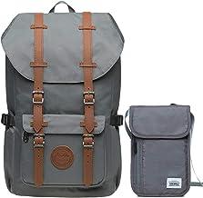 KAUKKO Rucksack Damen Herren Studenten Laptop Backpack für 15 Notebook mit Kleine Tasche Grau-Set KI02EP5-11