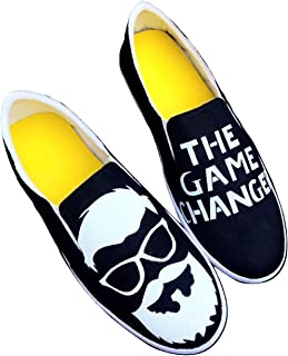FUNKY N TRENDY Black The Game Changer Moustache Men's Canvas Casual Shoes