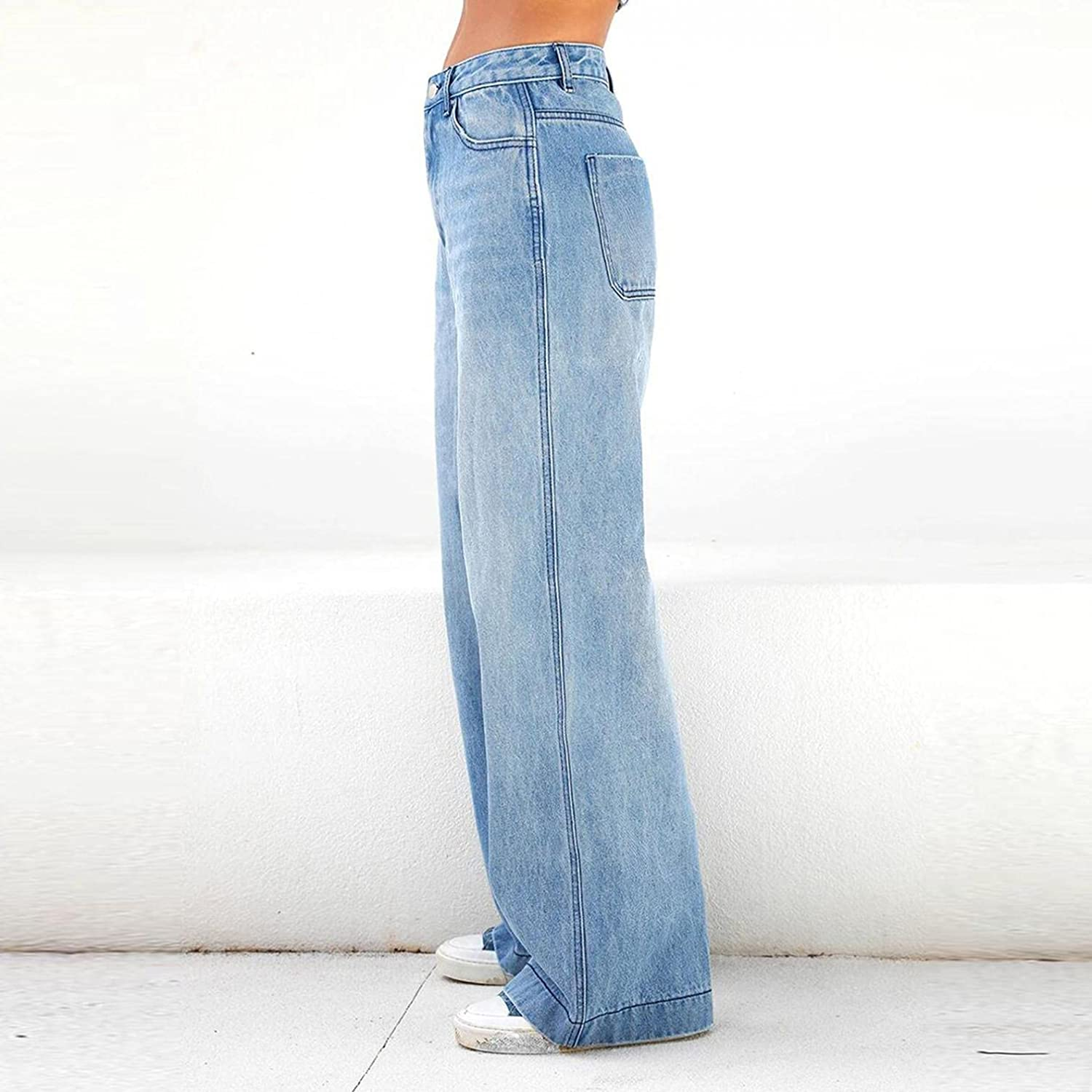 Lingbing Y2K Fashion Jeans, Women Wide Leg Pants Casual Baggy Trousers Embroidered Printing Jeans Denim Pants Streetwear