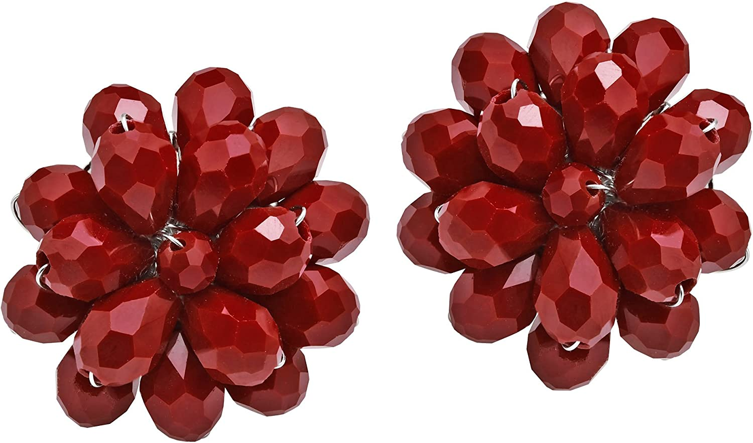 Dazzling Deep Red Chrysanthemum Floral Fashion Crystal Clip On Earrings
