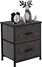 HOMOKUS Night Stand Storage Tower, End Table, Organizer Unit with 2 Drawers - Sturdy Steel Frame, Wood Top, Easy Pull Fabr...