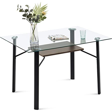 """55/"""" Living Room Table for 4//6 Persons Modern Rectangle Tempered Glass Dining Table Black Minimalist Kitchen Table with Stainless Steel Metal Legs"""
