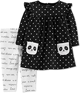 Carter's Baby Girls' 2-Piece Panda Dress Top and Slogan Legging Pants (18 Months)