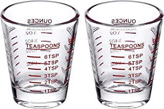 Shot Glasses Measuring cup Espresso Shot Glass Liquid Heavy Glass Wine Glass 2 Pack 26-Incremental Measurement 1oz, 6 Tsp,...