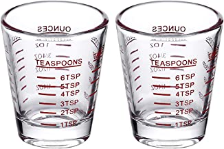 Best Shot Glasses Measuring cup Espresso Shot Glass Liquid Heavy Glass Wine Glass 2 Pack 26-Incremental Measurement 1oz, 6 Tsp, 2 Tbs, 30ml (2 pack-red) Review