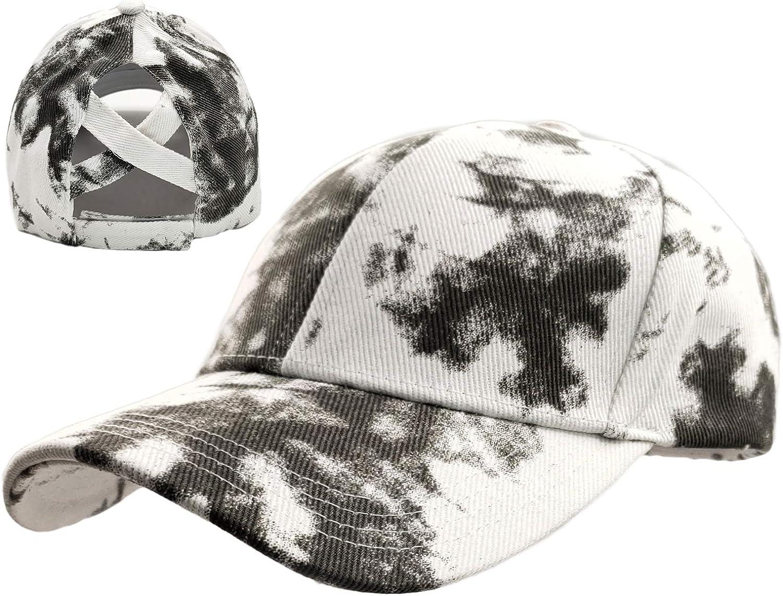 Beurlike Womens Ponytail Washed Baseball Cap Hats Criss Cross High Bun Messy Ponycap Adjustable Trucker Running Hat(Distressed Tie Dye Black)