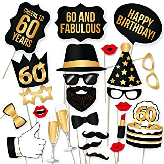 60th Birthday Photo Booth Props – Fabulous Sixty Party Decoration Supplies For Him and Her, Funny Sixtieth Bday Photobooth Backdrop Signs For Men And Women, Black And Gold Picture Decor – 34 Pieces