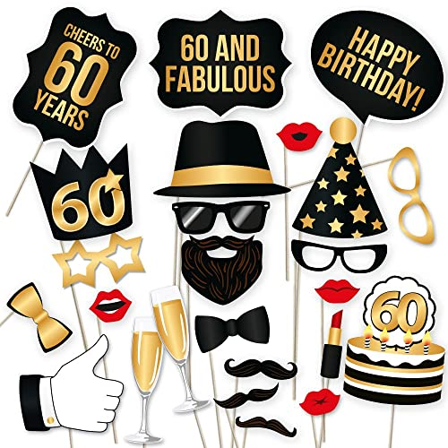 60th Birthday Photo Booth Props Fabulous Sixty Party Decoration Supplies For Him And Her