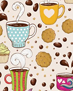 Coffee and Cookies Notebook: (8 x 10 Large)(Lined) Blank Composition Notebook Organizer Planner Sketchbook Gratitude Diary Whimsical Pattern Splashes Pretty Cup Lover Chocolate Chip
