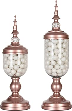 Amalfi Decor Apothecary Jars Set of 2 Clear Glass Candy Dish Holder with Metal Lids Cookie Jar Buffet Display, Rose Gold