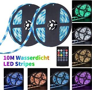 10M Tira de LED RGB Regulable Tiras de luz LED con control de música Multicolor IP65 Impermeable 5050 SMD Acortar Di...