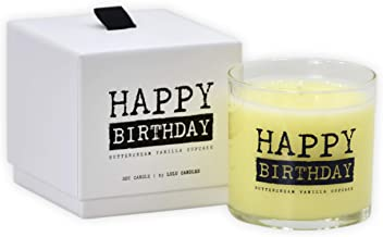 Lulu Candles   Buttercream Vanilla Cupcake   Happy Birthday   Luxury Scented Soy Jar Candles   Hand Poured in The USA   Highly Scented & Long Lasting   Small- 6 Oz. with Gift Box