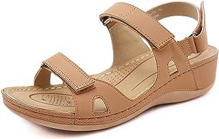 Ladies Open Toe Sandals Premium Orthopedic Sandals Womens Faux Leather Summer Vintage Flip Flops Breathable Anti-Slip Plat...