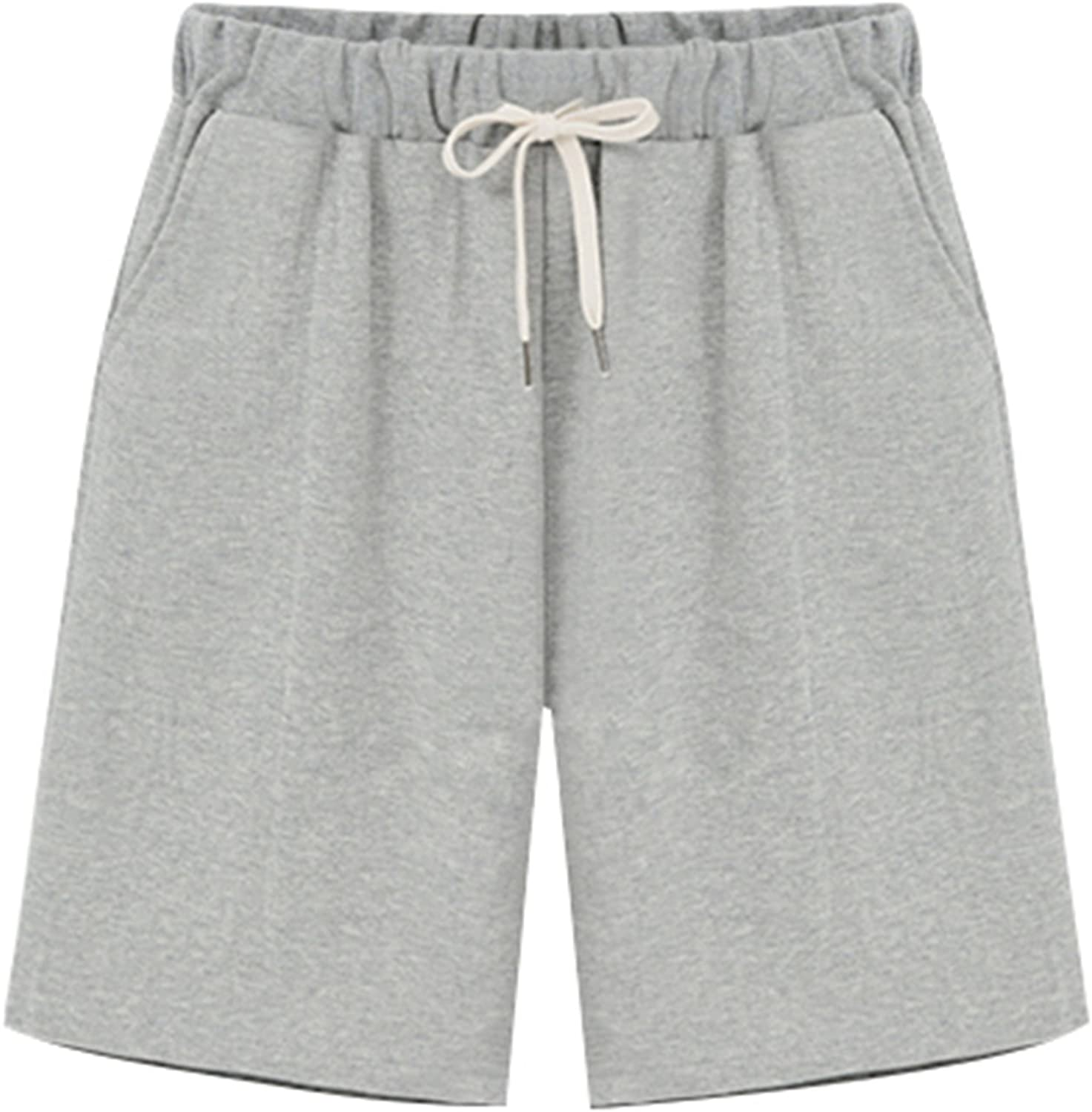 Vcansion Women's Casual Cotton Elastic Waist Drawstring Summer Beach Shorts with Pockets