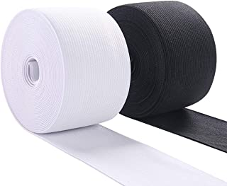 Elastic Band for Sewing 1-1/2 Inch Wide Elastic Fabric Band Stretch High Elasticity Knit Elastic Band for Pants 10 Yard (5 Yard White,5 Yard Black)