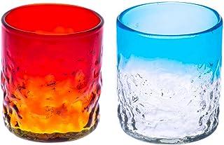 でこぼこグラス(S)2個セット(オレンジ・水)