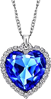 Neoglory Jewelry Blue Crystal Heart Love Shaped Clear Rhinestone Charm Pendants Necklace Gifts 2 Sizes