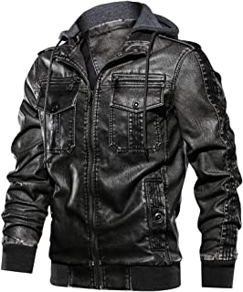 JYG Men's Stand Collar Faux Leather Motorcycle Jacket with Removable Hood