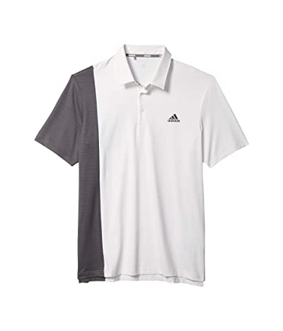 adidas Golf Ultimate365 Blocked Print Polo Shirt (White/Grey Six/Collegiate Navy) Men