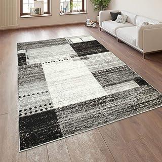 Alfombra Diseño Pelo Corto Salón Estampado Cuadros Jaspeado Gris Negro Y Blanco, tamaño:80x150 cm