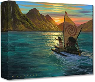 Disney Fine Art Sailing Into The Sun by Walfrido Garcia Treasures on Canvas Moana Maui 12 Inches x 16 Inches Reproduction Gallery Wrapped Giclée on Canvas Wall Art