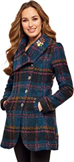 Womens Checked Button up Fully Lined Coat