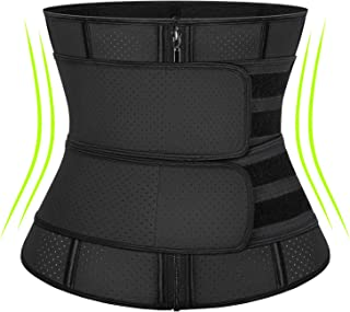 KIWI RATA Women Workout Waist Trainer with Adjustable Double Straps, Weight Loss Faja Breathable Latex Snug Fit Belly Belt with Zipper