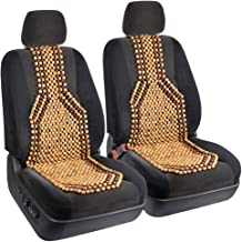 BDK 2pc Beaded Massage Wood Cushion Seat Covers - Sweat-Free Classic Comfort for Car Home Office - Set of 2
