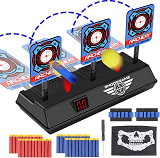 Tencoz Electric Scoring Auto Reset Shooting Digital Target with 40 Refill Darts 2 Hand Wrist Bands 1 Skull Mask for Nerf Guns Blaster Elite/Mega/Rival Series Toy Gifts for Kids Boys