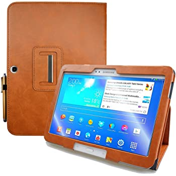KUESN Samsung Galaxy Tab 4 10.1 SM-T530 T531 Book Cover Case and Tab 3 10.1 GT-P5200 P5210 Tablet Folio Flip Book Cover Case with Magnet Closured (Brown)
