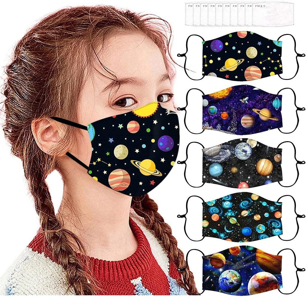 5Pcs +10 filters Face_Masks for Reusable Face Ranking TOP8 Price reduction Bandanas Bre Kids