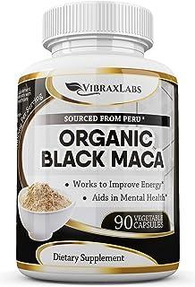 VibraxLabs 100% Organic Peruvian Black Maca Root Capsules, 1000mg, Supports Healthy Energy & Performance for Men & Women, ...