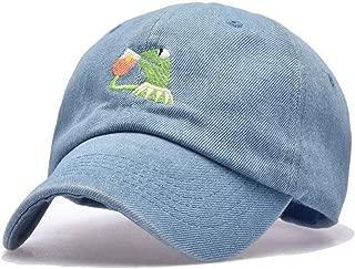 Kermit The Frog Dad Hat Cap Sipping Sips Drinking Tea Champion Lebron Costume (Denim) Adjustable Strapback